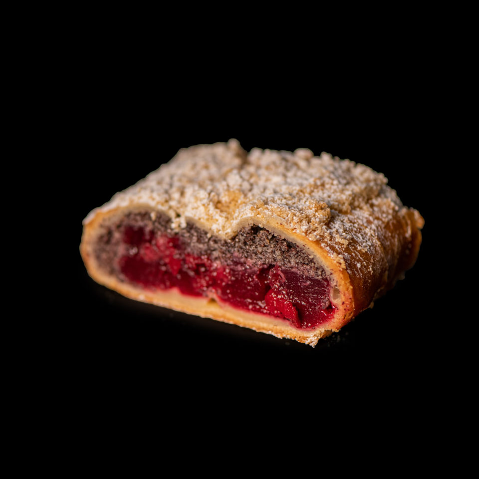 Strudel with sour cherries and poppy seeds